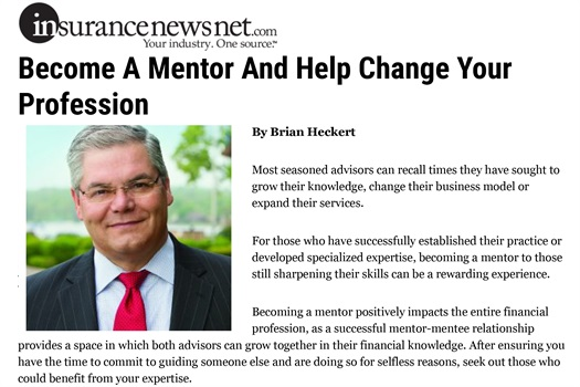 Brian Heckert Writes Article on Mentoring for AdvisorNews