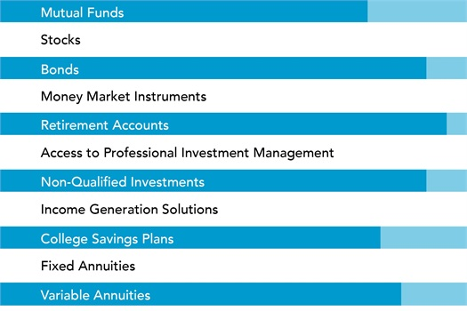 M3 Investment Services' financial advisors offer a wide range of products and services to meet your investment planning needs: