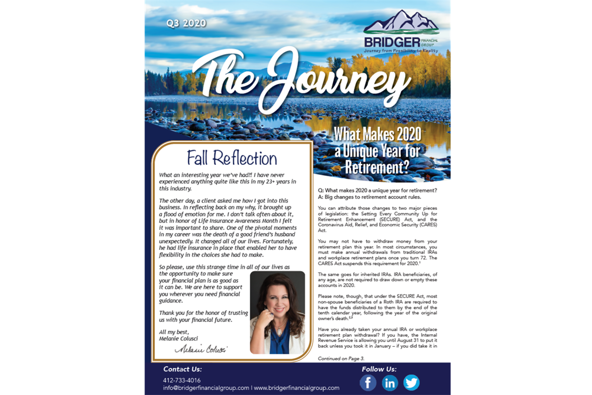 Read the latest edition of The Journey, Bridger Financial Group's newsletter!