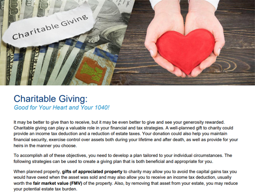 Charitable Giving: Good For Your Heart and Your 1040