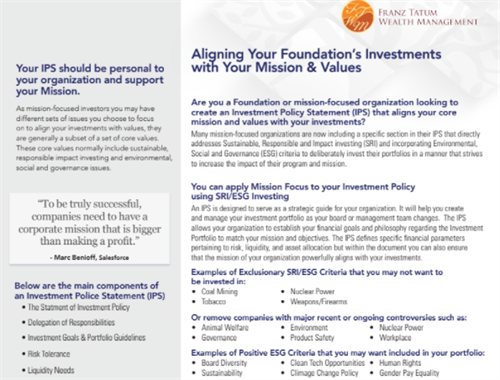 Foundation Investment Policy Statement