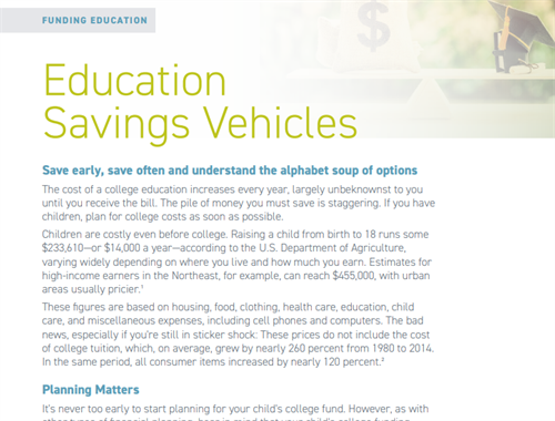 Education saving vehicle