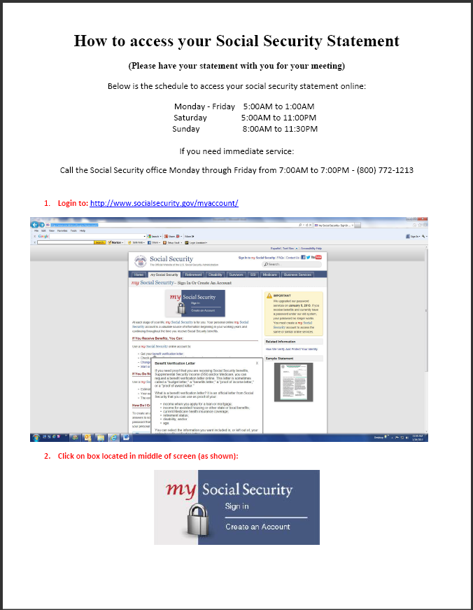 Access Social Security Statement Mclean Advisory Group