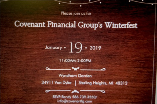 Both Winter--as in 4-5 inches of snow--and Fest(as in festivity) were in evidence as Covenant Financial Group began its new series of Client Centered events for 2019.