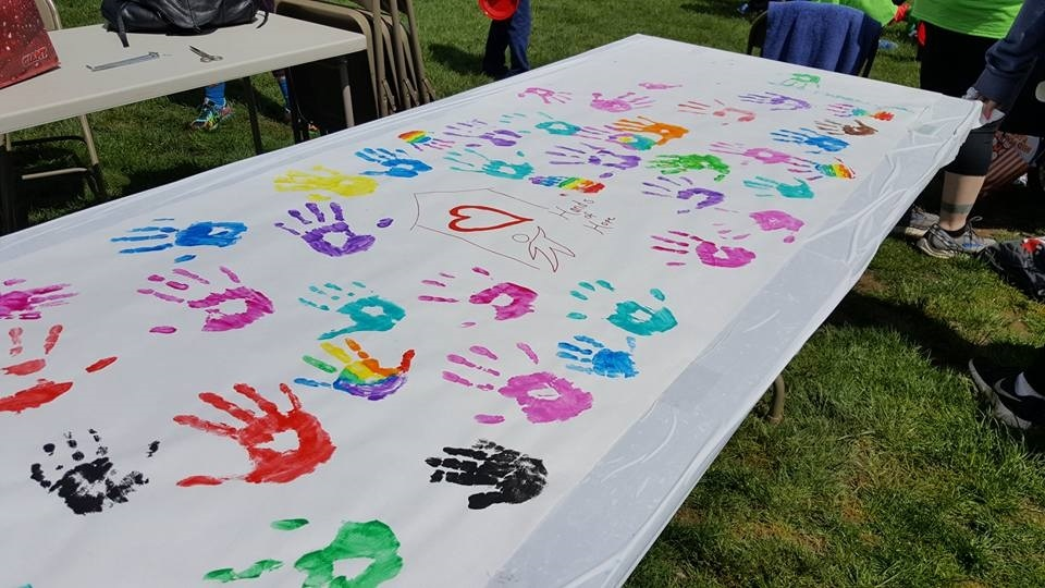 Handprint Sign for Randi's House of Angels