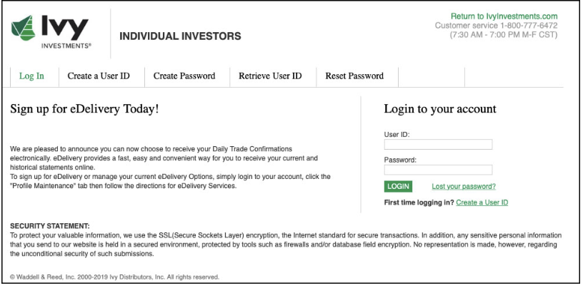 Ivy Investments Account