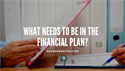 WHAT NEEDS TO BE IN THE  FINANCIAL PLAN?