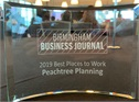 Peachtree Planning recognized as a Best Places To Work in 2019 by the Birmingham Business Journal