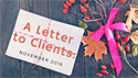 A Letter to Clients: November 2019