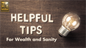Six Tips for Wealth & Sanity