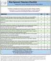 Plan Sponsor Fiduciary Checklist